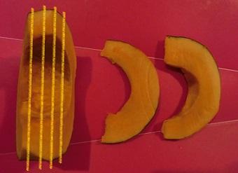 バーベキュー かぼちゃ 切り方