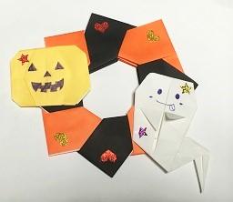 ハロウィン 保育園 折り紙リース