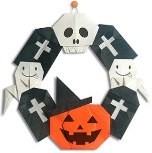 ハロウィン 手作りリース 折り紙
